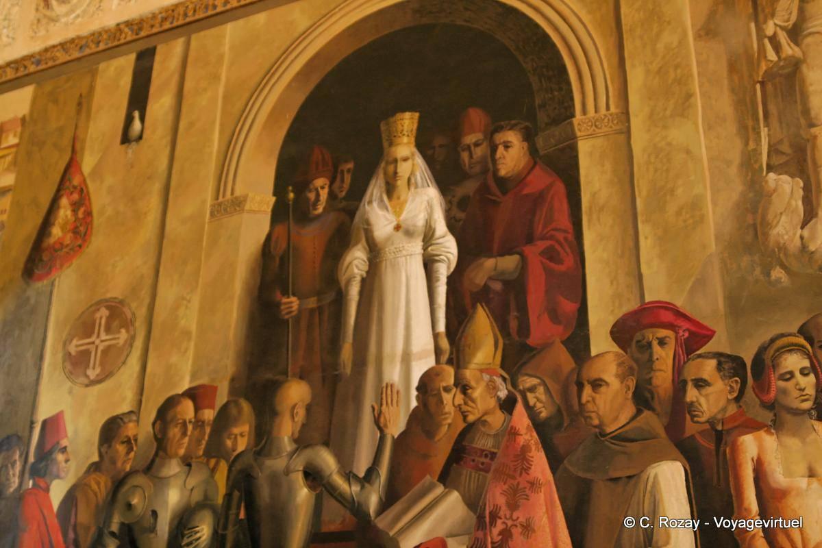 Resultado de imagen de fresco de coronación de isabel de castilla en segovia